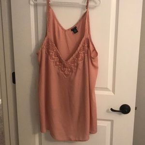 Blush colored lacy tank top